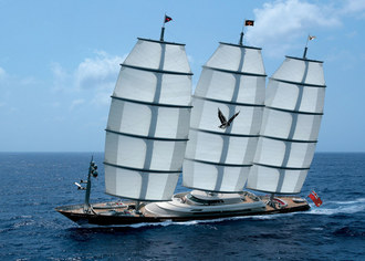 the Maltese Falcon under sail in front of Viareggio - July 2006